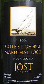 Jost Vineyards 2006 Côte St. George Marechal Foch  (Nova Scotia)