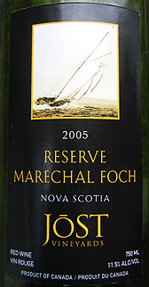 Wine:Jost Vineyards 2005 Marechal Foch Reserve  (Nova Scotia)