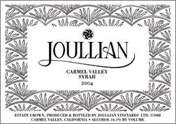 Wine:Joullian Vineyards 2004 Syrah  (Carmel Valley)