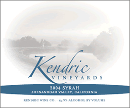 Wine:Kendric Vineyards 2004 Syrah  (Shenandoah Valley (CA))