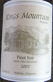 Kings Mountain Vineyard 2003 Pinot Noir  (Santa Cruz Mountains)
