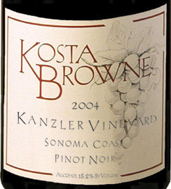 Wine:Kosta Browne Winery 2004 Pinot Noir, Kanzler Vineyard (Sonoma Coast)