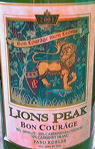 Wine:Lions Peak Vineyards 2001 Bon Courage  (Paso Robles)