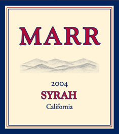 Wine:Marr Cellars 2004 Syrah  (California)