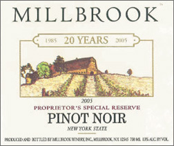 Millbrook Vineyards & Winery 2005 Pinot Noir - Proprietor's Special Reserve  (New York)