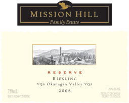 Mission Hill Winery 2006 Reserve Riesling Fritz Hasselbach Collection  (Okanagan Valley)