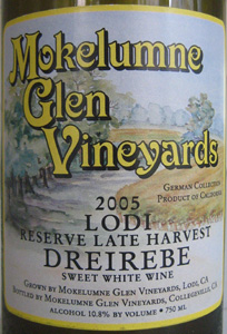 Wine:Mokelumne Glen Vineyards 2005 Dreirebe - Reserve Late Harvest  (Lodi)