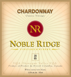 Wine:Noble Ridge Vineyard and Winery 2005 Chardonnay  (Okanagan Valley)