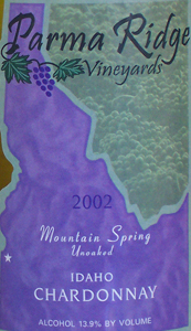 Parma Ridge Vineyards 2002 Chardonnay Unoaked, Mountain Spring (Idaho)