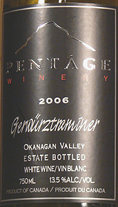 Wine:Pentage Wines 2006 Gewürztraminer  (Okanagan Valley)