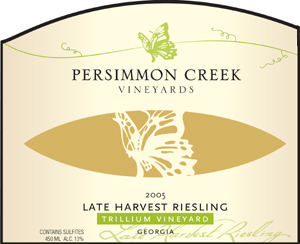 Persimmon Creek Vineyards 2005 Late Harvest Riesling, Trillium Vineyard (Georgia)