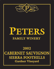 Wine:Peters Family Winery 2002 Cabernet Sauvignon, Gardner Vineyard (Sierra Foothills)