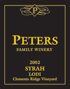 Wine:Peters Family Winery 2002 Syrah, Clements Ridge Vineyard (Lodi)