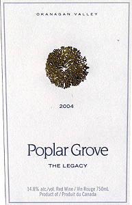 Poplar Grove Winery 2004 Legacy  (Okanagan Valley)