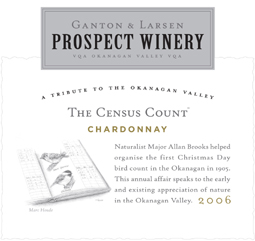 Ganton and Larsen Prospect Winery 2006 The Census Count Chardonnay  (Okanagan Valley)
