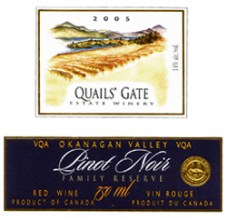 Wine:Quails' Gate Estate Winery 2005 Family Reserve Pinot Noir, Estate (Okanagan Valley)