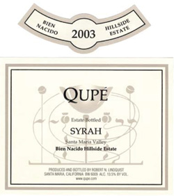 Wine:Qupe Wine Cellars 2003 Syrah, Bien Nacido, Z Block - Hillside Estate (Santa Maria Valley)