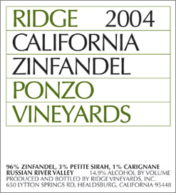 Wine:Ridge | Lytton Springs Winery 2004 Zinfandel , Ponzo Vineyard (Russian River Valley)
