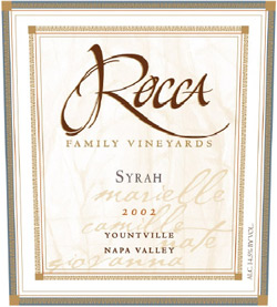 Wine:Rocca Family Vineyards 2002 Syrah, Crossroads Vineyard (Yountville)