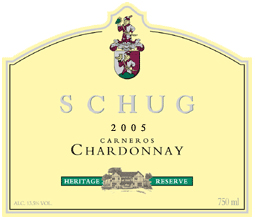 Schug Carneros Estate Winery 2005 Chardonnay Heritage Reserve  (Carneros)