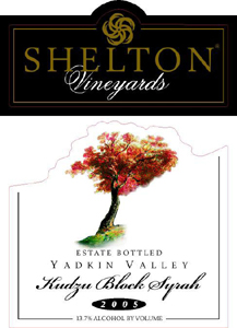 Shelton Vineyards 2005 Kudzu Block Syrah, Estate (Yadkin Valley)