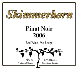 Skimmerhorn Winery & Vineyard 2006 Pinot Noir  (British Columbia)