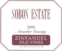 Wine:Sobon Estate 2005 Zinfandel - Old Vines  (Amador County)