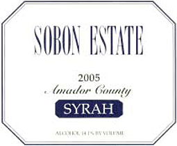 Wine:Sobon Estate 2005 Syrah  (Amador County)