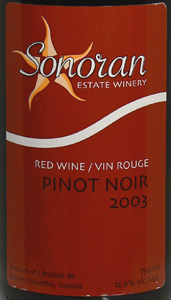 Sonoran Estate Winery 2003 Pinot Noir  (Okanagan Valley)