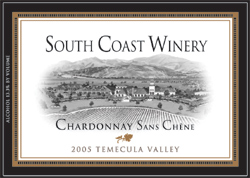 Wine:South Coast Winery 2005 Chardonnay Sans Chene  (Temecula Valley)
