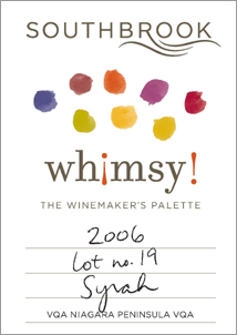 wine Southbrook Vineyards 2006 Whimsy Syrah (Lot 19)  (Niagara Peninsula)