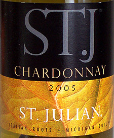 Wine:St. Julian Wine Co. 2005 ST. J Chardonnay  (Lake Michigan Shore)
