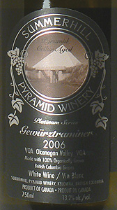 Summerhill Pyramid Winery 2006 Platinum Series Gewurztraminer  (Okanagan Valley)