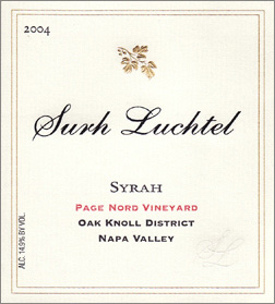 Wine:Surh-Luchtel Cellars 2004 Syrah, Page Nord Vineyard (Napa Valley)
