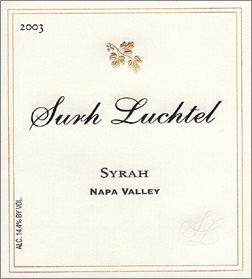 Wine:Surh-Luchtel Cellars 2003 Syrah  (Napa Valley)