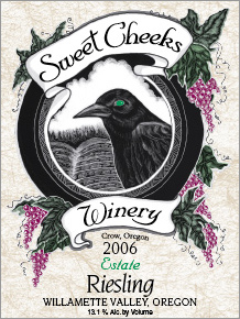 Sweet Cheeks Winery 2006 Riesling, Estate (Willamette Valley)