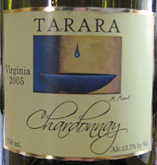 Wine:Tarara Vineyard & Winery 2005 Chardonnay  (Virginia)