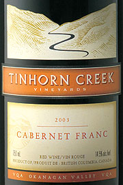 Tinhorn Creek Vineyards 2003 Cabernet Franc  (Okanagan Valley)