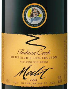 Tinhorn Creek Vineyards 2003 Oldfield's Collection Merlot  (Okanagan Valley)