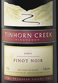 Tinhorn Creek Vineyards 2004 Pinot Noir  (Okanagan Valley)
