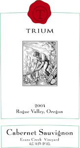 Wine:Trium Winery 2004 Cabernet Sauvignon, Evans Creek Vineyard (Rogue Valley)