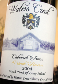 Waters Crest Winery 2004 Cabernet Franc Private Reserve  (North Fork of Long Island)