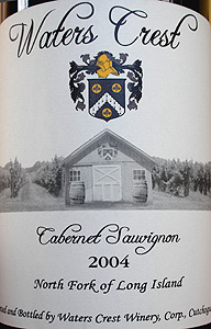 Wine:Waters Crest Winery 2004 Cabernet Sauvignon  (North Fork of Long Island)