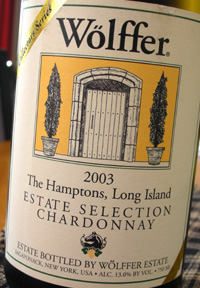 Wine:Wolffer Estate Vineyard 2003 Estate Selection Chardonnay  (Hamptons Long Island)