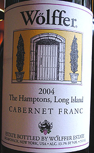 Wolffer Estate Vineyard 2004 Cabernet Franc (Hamptons Long Island)