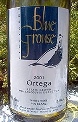 Blue Grouse Vineyards Ortega
