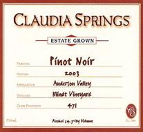 Claudia Springs Pinot Noir