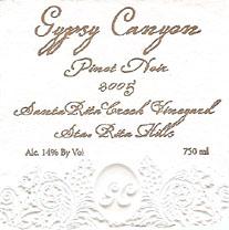Gypsy Canyon Pinot Noir Label Sta Rita Hills