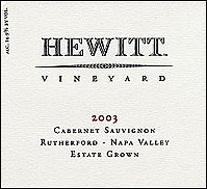 Hewitt Vineyard Rutherford Cabernet