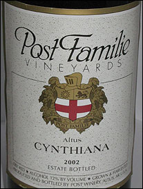 Post Familie Winery - Altus, Arkansas Cynthiana